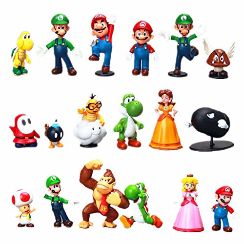 "NEW 18pcs Set Cute Mini Bros 1~2.5"" Lot Action Figure Doll Toy Gifts"