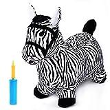iPlay, iLearn Zebra Bouncy Animal, Hopping Horse, Inflatable Hopper, Indoor Outdoors Kindergarten Ride On Toy, Birthday Activities Gift for 2, 3, 4, 5 Year Old Kids Preschool Toddlers Boys Girls