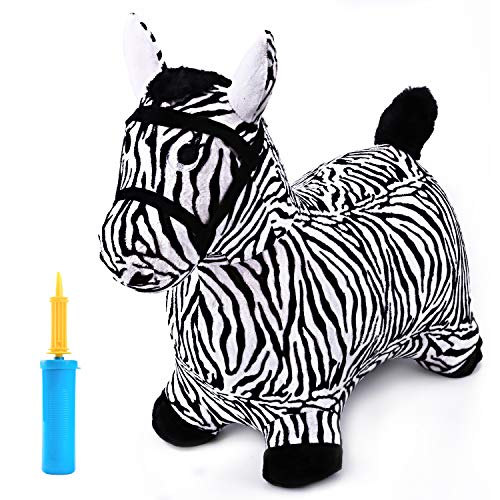 iPlay, iLearn Zebra Bouncy Animal, Hopping Horse, Inflatable Hopper, Indoor Outdoors Kindergarten Ride On Toy, Birthday Activities Gift for 2, 3, 4, 5 Year Old Kids Preschool Toddlers Boys - Animal Rocking Zebra