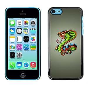Cubierta de la caja de protección la piel dura para el Apple iPhone 5C - King Cobra Snake
