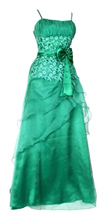 Womens Long Evening Dress Flower Tapework Decorated Bow Layered Formal Dresses Gowns Dark Green Size 20