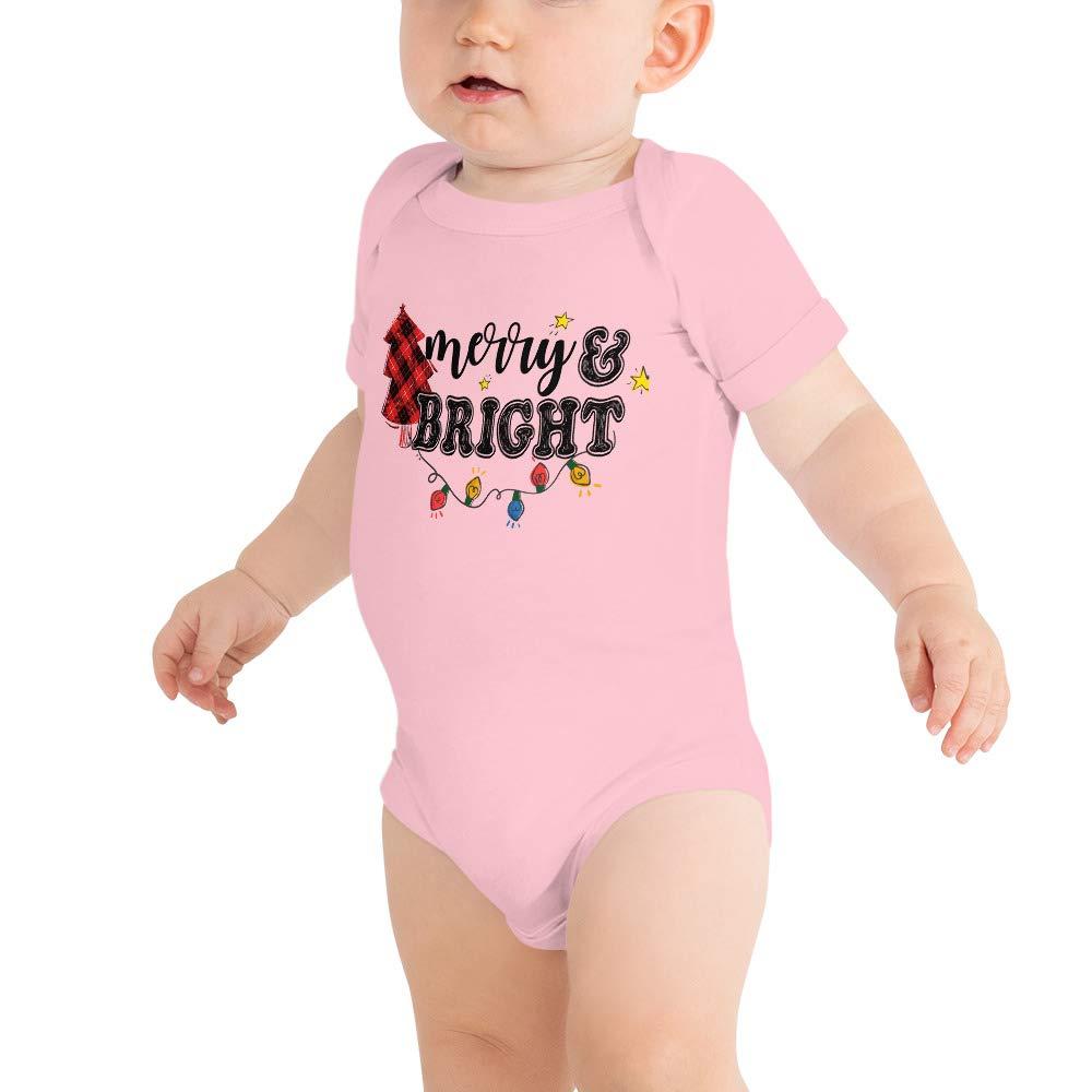 Merry and Bright Christmas Buffalo Plaid Christmas Tree Baby Bodysuit Baby Shirt