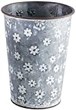 Metal Bucket with White Flowers - 8.5 inch