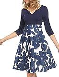 ANGVNS Women's Elegant Floral Printed A Line 3/4 Sleeve V Neck Casual Dress (Navy Blue,M)