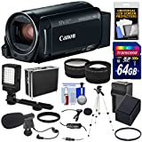 Canon Vixia HF R82 32GB Wi-Fi 1080p HD Video Camera Camcorder + 64GB Card + Battery & Charger + Hard Case + Tripod + LED + 2 Microphones + 2 Lens Kit