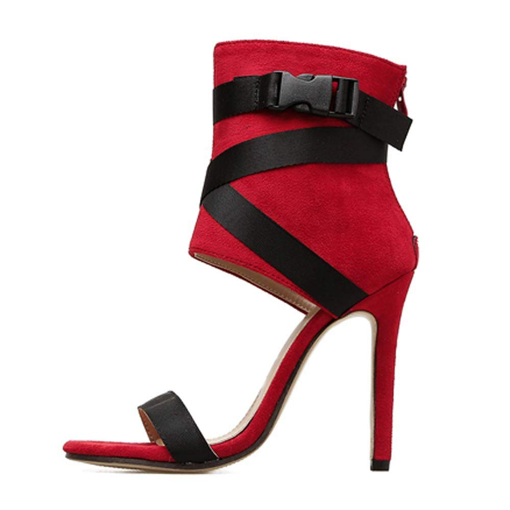 New New in HAALIFE◕‿ high Heel Sandals for Women peep Toe Platform Dress Pump Shoes Ankle Buckle Strap Platform Sandal Red by HAALIFE Shoes