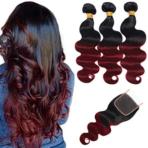 Ombre Brazilian Hair Body Wave Bundles with Closure,Ombre Brazilian Virgin Hair Human Hair Weave Two Tone Black to Burgundy (T1B/99J,18 20 22+16)