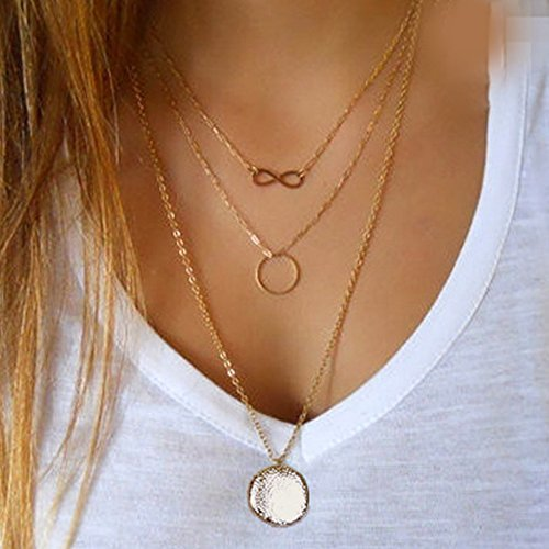 FXmimior 3 Tier Vintage Coin Lucky 8 Eight Ring Pendant Circle Choker Layered Bar Party Wedding Necklace Jewelry For Women by FXmimior