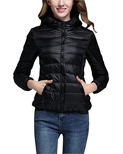 ZhuiKun Down Puffer Jacket Coat Women's Hooded Packable Ultra Light Weight Short Down Outdoor Coat Black