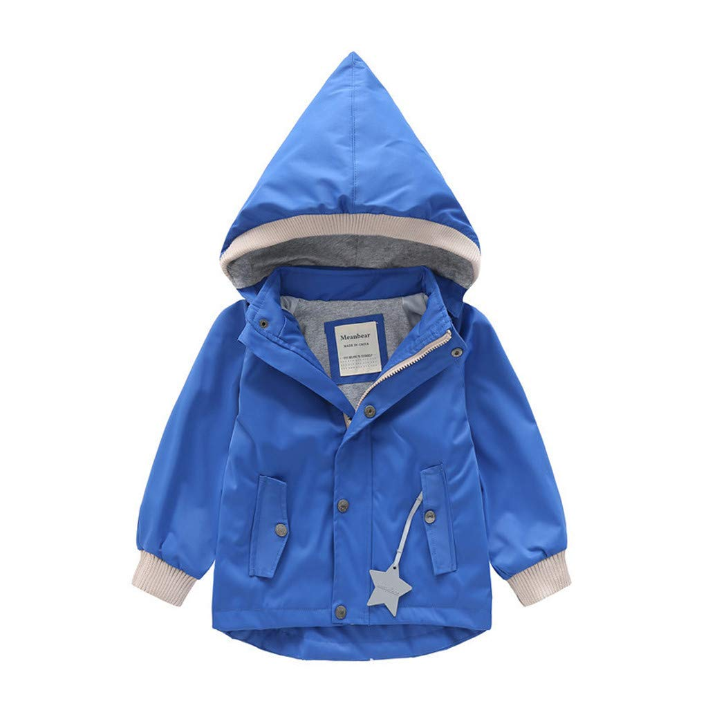 BFYOU Toddler Kid Baby Boy Cartoon Animal Hooded Coat Jacket Outwear Windproof Outfits Blue by BFYOU_ Girl Clothing