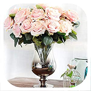 meiguiyuan 10 Heads Rose Artificial Flower French Rose Bouquet Silk Flower for Wedding Home New Year Decoration Fake Flower Fall Decoration 44