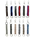 Paracord Keychain Keyrings 12 Pack for Men Boys Women Girls Teens | Key Keeper Party Favors | Handmade Cobra Braid Key Fobs Braided with Genuine 550 lbs Parachute Cord | Frogsac USA Seller (Guys)