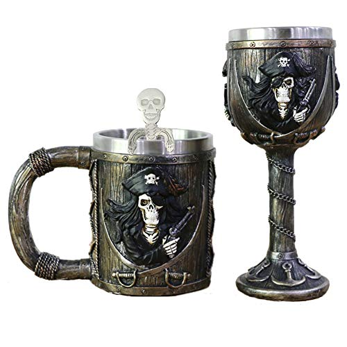 Pirate Skull Mug Goblet Spoon Set of 3 With Stainless Steel - Viking Warrior Skull Mug Beer Tankard or Coffee Mug & Wine Chalice Ideal Novelty Gothic Gift Idea Men Christmas Gifts Father's Day Gift ()
