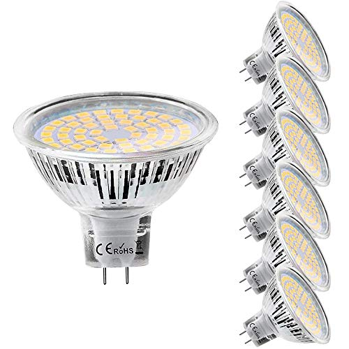 MR16 GU5.3 LED Light Bulbs - 50W Equivalent Halogen Bulbs, Warm White 3000K 12V 5W LED Spotlight Light, Non-Dimmable, 6 Pack