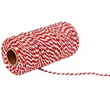 1 Roll of 100 Yard 2 Strand Cotton Twine String Cord Rope For Quilting Gift Wrapping Scrapbooking DIY Crafts Red + White