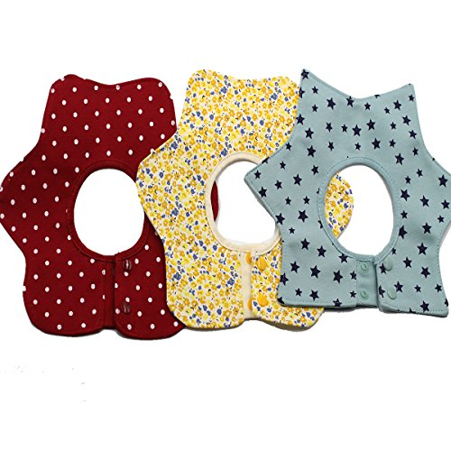 Afeel 3Piece Baby Dribble bibs and burp cloths Cute bib flower shape for boy and girls baby gift