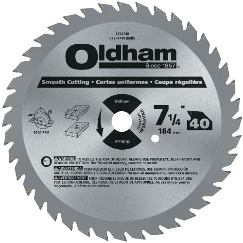 Oldham 7254740 All Purpose 7-1/4-Inch 40 Tooth ATB General Purpose Saw Blade with 5/8-Inch and Diamond Knockout Arbor
