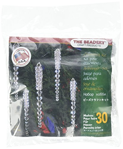 Beadery BOK-5489 Holiday Beaded Ornament Kit, 3.75-Inch, Sparkling Icicles, Makes 30 -