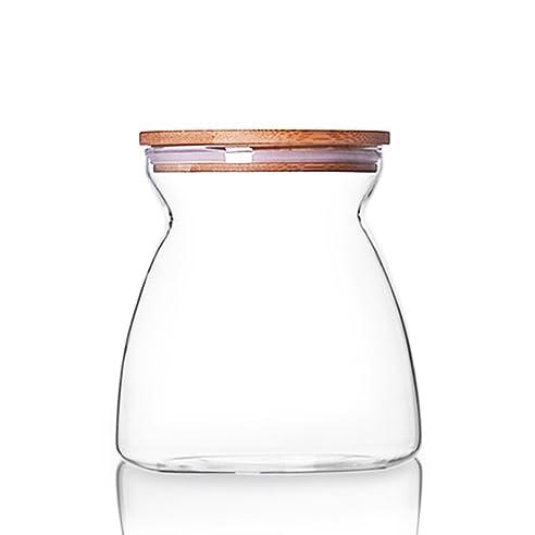 Qileyin Qly050 Lebensmittel Jar Borosilikat Glas Vorratsdose Kanister Mit  Bambus Deckel Und Silikon Dichtung Ring Küche
