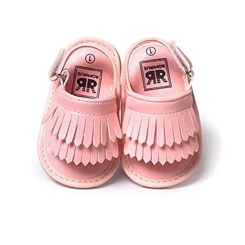 Indian Shoes–Sandalias con flecos niña de 0a 18meses 0/6Meses, 6/12Meses, 12/18Meses dorado Talla:0/6 meses rosa claro