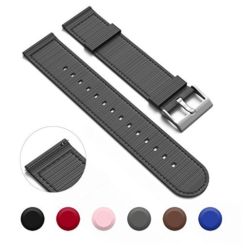 GadgetWraps Nylon 16mm Quick Release Watch Bands - NATO Style Two-Piece Watch Straps - 16mm Width - (Gunmetal Grey, 16mm) ()