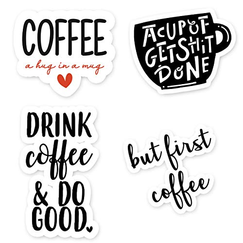 Price comparison product image Coffee Sticker Pack - 4 Pack - Funny Laptop Stickers - Laptop,  Phone,  Tablet Vinyl Decal Sticker