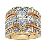 Marquise-Cut White Cubic Zirconia 18k Gold over .925 Silver 3-Piece Multi-Row Bridal Ring Set Size 8