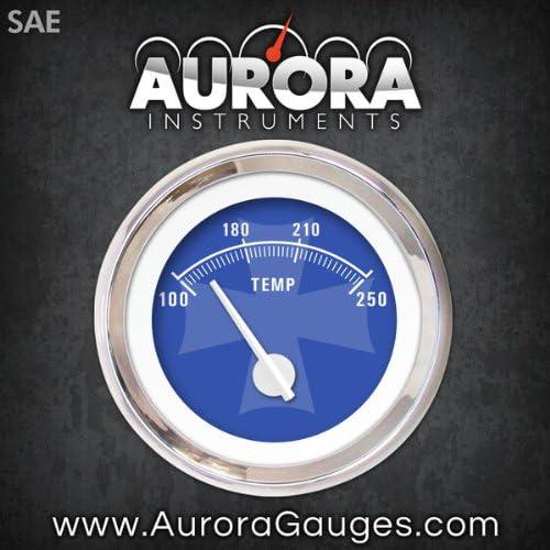 Aurora Instruments 5274 Iron Cross Ash Metric Water Temperature Gauge Black Modern Needles, Chrome Trim Rings, Style Kit Installed