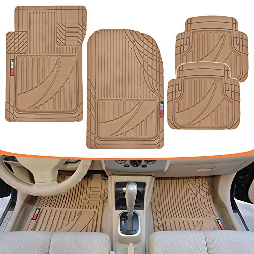 Motor Trend MT794BG FlexTough Advanced Performance Mats-4pc HD Rubber Floor Mats for Car SUV Auto All Weather Plus (Beige)