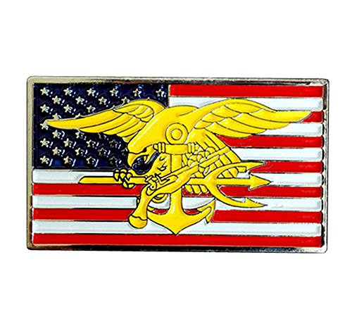 US Navy SEALs Special Warfare SEAL Team Trident Insignia in US Flag Metal Badge Pin