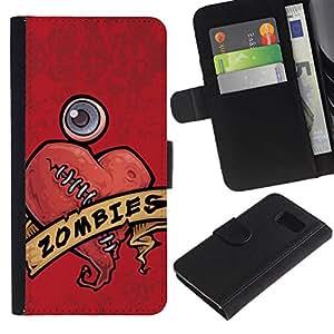 All Phone Most Case / Oferta Especial Cáscara Funda de cuero Monedero Cubierta de proteccion Caso / Wallet Case for Samsung Galaxy S6 // Zombie Heart Stiches Red Drawing Art Sign