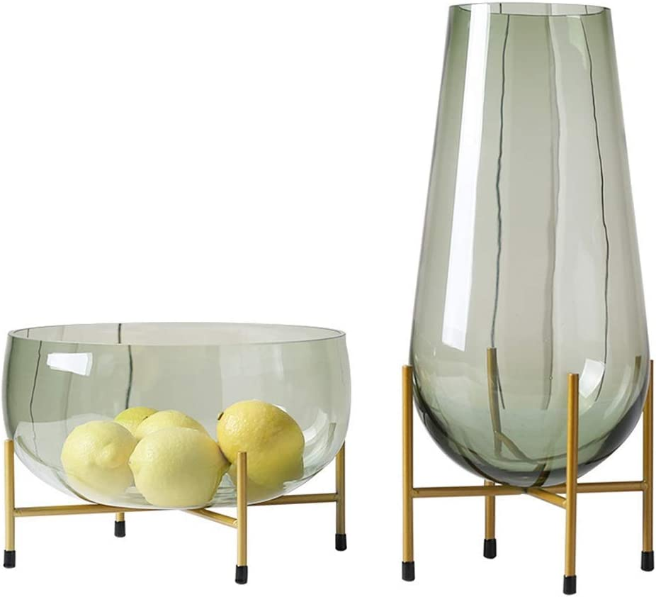 Amazon Com Ouppeng Metal Designed Table Vase Creative Home Vases Clear Glass Flower Arrangement Vases Brass Gold Band Decor Dining Table Centerpieces Gifts For Wedding Housewarming Party Color Size Free Liv Home