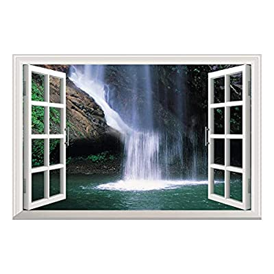 Grand Waterfall Open Window Mural Wall Sticker - 36