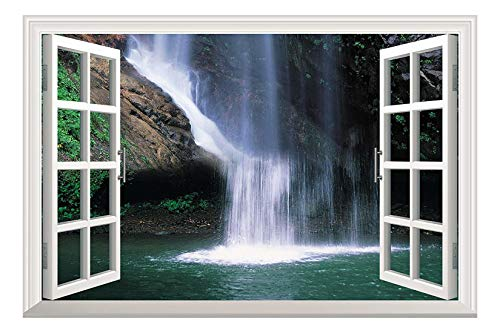 Grand Waterfall Open Window Mural Wall Sticker