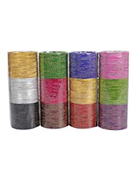 Bollywood Fashion Plain Indian Bangles Box 12 Color Partywear Bangles Traditional Jewelry