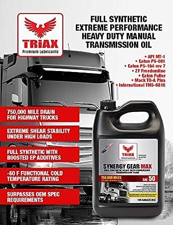 Amazon com: Triax Synergy Gear SAE 50 Full Synthetic Manual