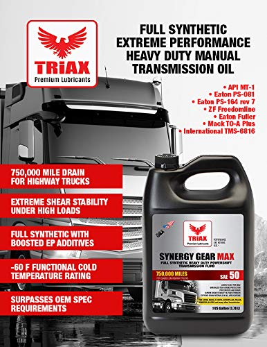 Triax Synergy Gear SAE 50 Full Synthetic Manual Transmission Oil - 500,000  Mile Rating for Eaton, ZF, Mack Heavy Duty Trucks (1 GAL (Pack of 4))
