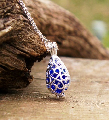 Recycled Vintage Cobalt 1960's Face Cream Jar Filigree Teardrop Necklace