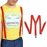 Vertvie Mens Clip-on Elastic Suspenders Y-Shape Adjustable Braces Strap(100cmx2.5cm)