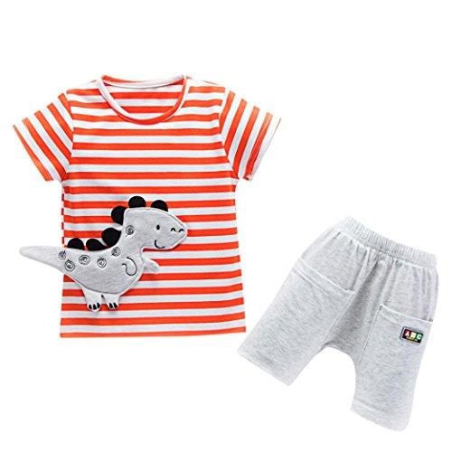 FEITONG Toddler Baby Boys Dinosaur Cartoon Striped T-shirt Shorts Outfits Clothes Sets (Orange, 18-24M)
