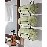 mDesign Wall Mount or Over Door Bathroom Towel Holder Bar - Bronze