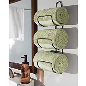 Amazon Com Mdesign Wall Mount Or Over Door Bathroom Towel