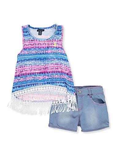 U.S. Polo Assn. Big Girls' Fashion Top and Short Set, Printed Milky Brush Lace Trim Denim Short Multi, (Denim Girls Top)