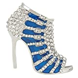 EVER FAITH Austrian Crystal Blue Enamel Sexy High-Heel Brooch Clear Silver-Tone