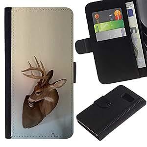 Antlers Beige Naturaleza Primavera Animal- la tarjeta de Crédito Slots PU Funda de cuero Monedero caso cubierta de piel Para Samsung Galaxy S6