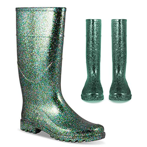Twisted Women's Rubber Rain Boots | Ladies Glitter, Knee High, Jelly Lined Water Resistant