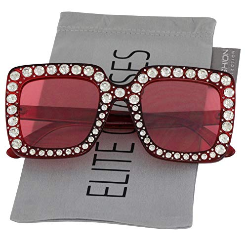 Elite Oversized Square Frame Bling Rhinestone Crystal Brand Designer Sunglasses For Women 2018 (Red, ()