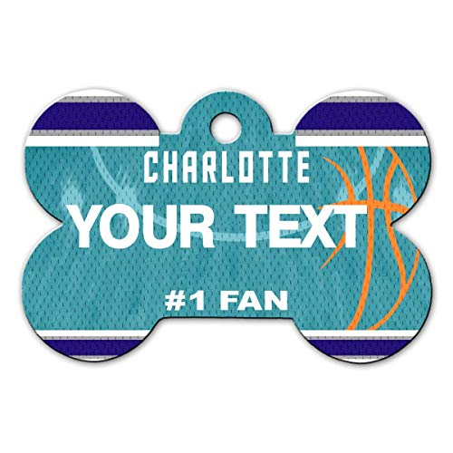 - BRGiftShop Personalize Your Own Basketball Team Charlotte Bone Shaped Metal Pet ID Tag with Contact Information