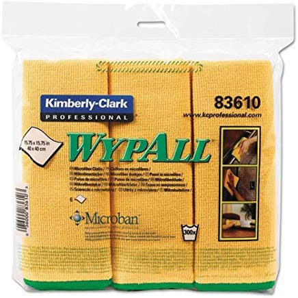 83610 Wypall Cloths - KIMBERLYCLARK 83610 WYPALL Cloths w/Microban, Microfiber, 15 3/4 x 15 3/4, Yellow, 6/Pack