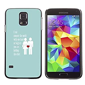 Plastic Shell Protective Case Cover || Samsung Galaxy S5 SM-G900 || Blue Couple Heart Inspiring @XPTECH